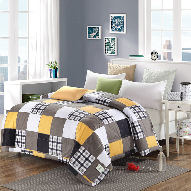 Yellow White Brown Lattice Cotton Home Textiles Fabric Summer Washable Blankets Air Conditioning Thin Duvets Print