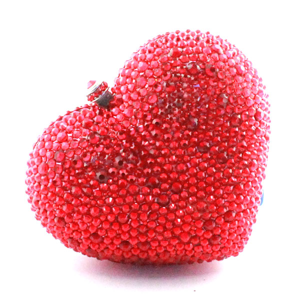 Red heart shape crystal clutch bag Rhinestone evening bag metal Ladies party purse diamond Ladies Wedding Bag(1014-BR ) heart shape red crystal rhinestone full of evening bag women clutch fashion shoulder chain metal purse hot new party hand bags