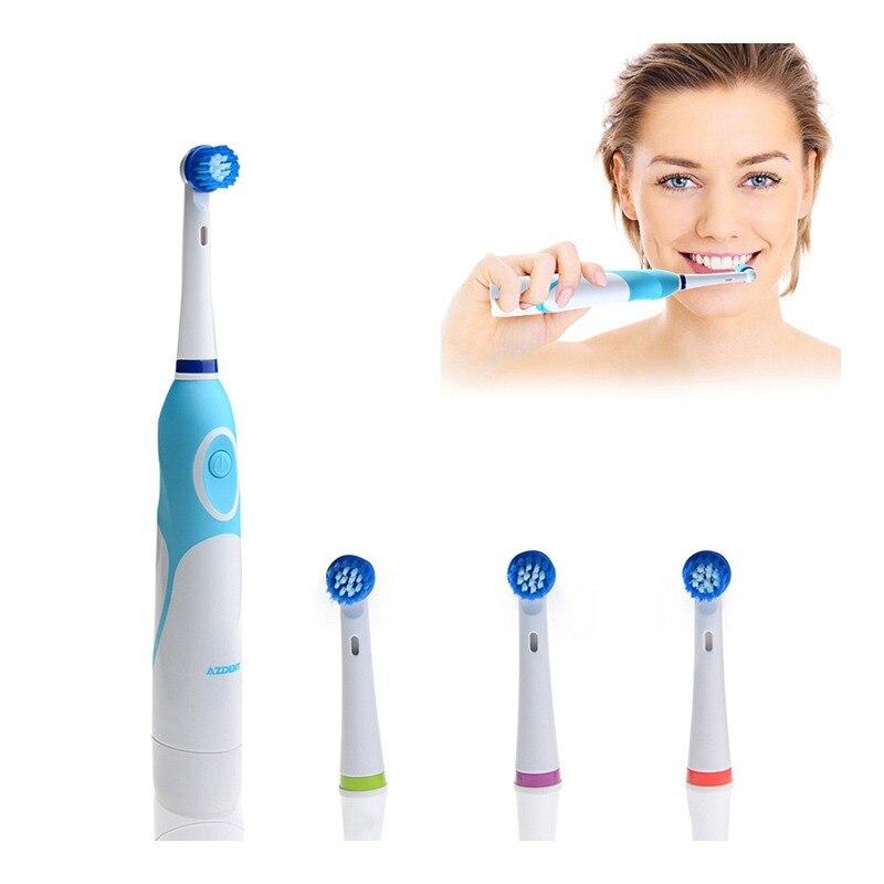 AZDENT Rotation Brosse À Dents Électrique À Piles avec 4 Têtes de Brosse Hygiène Bucco-dentaire des Produits de Santé No Rechargeable Brosse à Dents