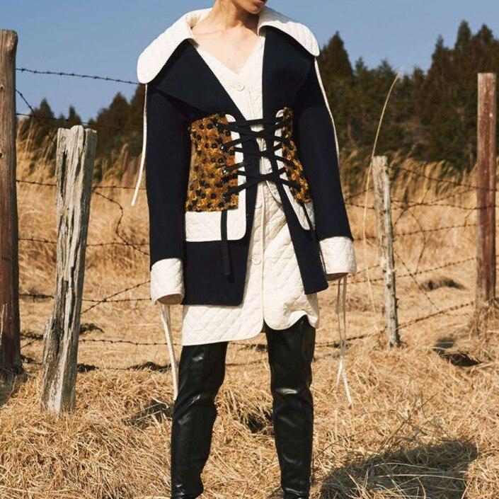Laine Black Noir Taille Survêtement Mélanges D'hiver Mode Plus Manteau 2 Cakucool Parka Femme Pcs Conception Nouvelles Piste Femmes Mince Europe Lâche ICwxRBxq