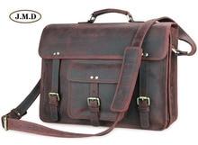 J.M.D Genuine Leather Men's Classic Special Design Brown Business Briefcases Laptop Handbag Shoulder Bag Messenger Bag 7234R
