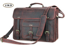 J.M.D Genuine Leather Men's Classic Special Design Brown Business Briefcases Laptop Handbag Shoulder Bag Messenger Bag 7234R