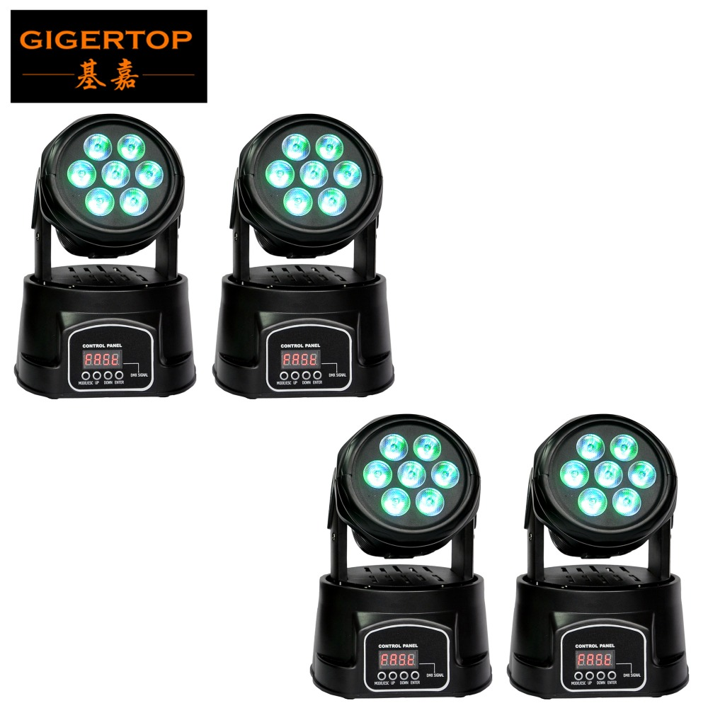 Cheap Price 4XLot LED Headbanger Moving Head Light 7 x 10W RGBW 4in1 LED DMX 8/13 Channels for Disco Club Stage Show Wedding