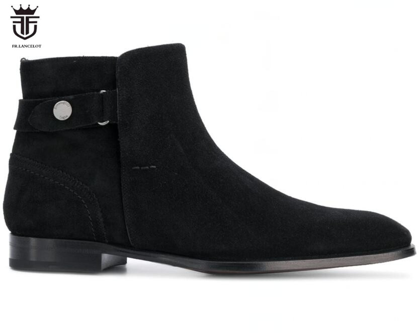 FR.LANCELOT 2018 New suede leather men booties zip up Chelsea Boots back strap Ankle Boots Men party shoes low top half booties