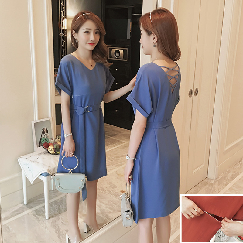 V-neck Nursing Dresses Maternity Dress with Sashes Maternity Dresses Summer Breast Feeding Clothes For Pregnant Women Clothing