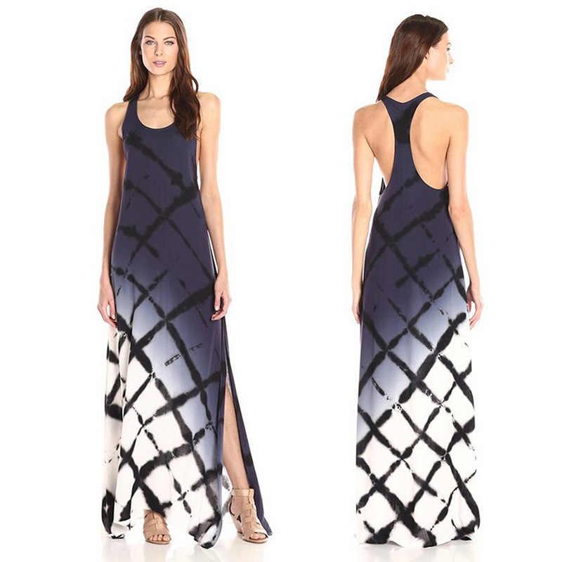 30286d874c634 2019 Yaz kadın Yeni Moda Yuvarlak Boyun Degrade Baskı Yelek Yüksek Yarık  Elbise Vestidos De Mujer