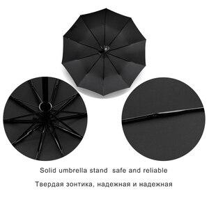 Image 4 - EasyZreal paraguas automático de cuero con mango curvo para hombre, sombrilla de negocios, resistente al viento, color negro
