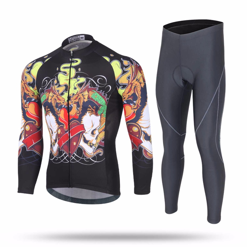 Men Cycling Jersey Sets Spring&Autumn Riding Suit Keep Warm Windproof Coat Sports Pants Cycling Clothing arsuxeo breathable sports cycling riding shorts riding pants underwear shorts