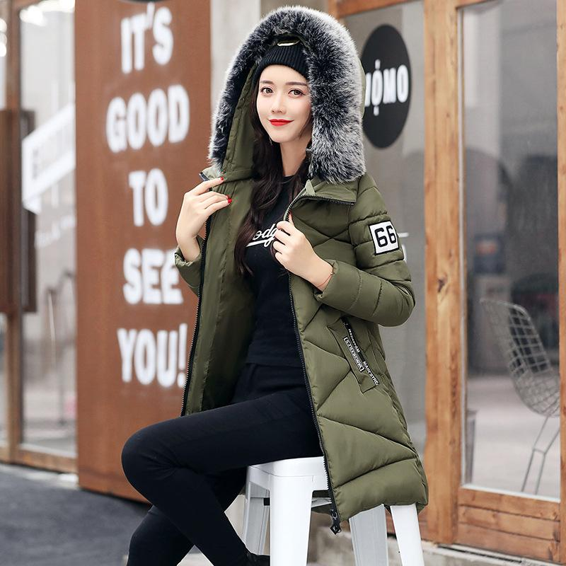 2017 Women Winter Warm Hooded Coats Fashion Fur Collar Thicken Cotton-padded Down Jackets Female Casual Slim Long Overcoats цены онлайн