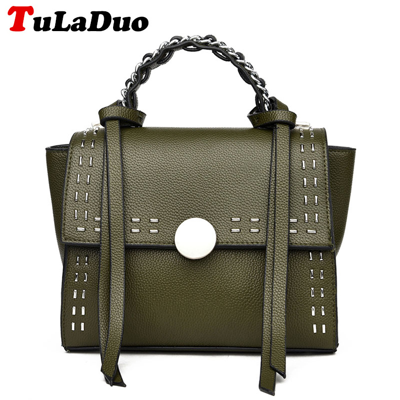 2017 New Women Handbag Designers Rivet Crossbody Bag Women Fashion Pu Leather To