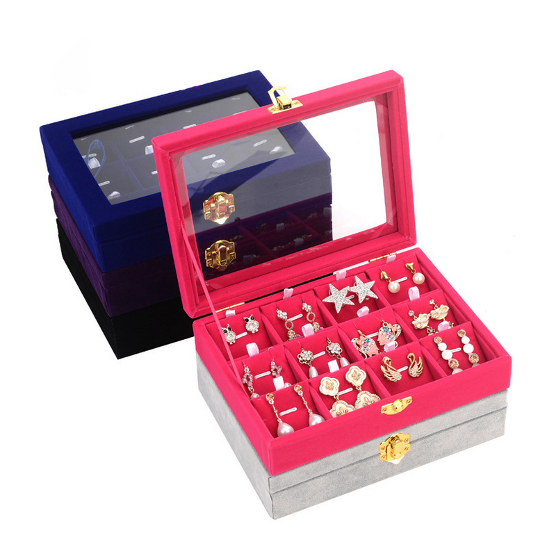 2018 New Carrying Case With Glass Cover Jewelry Ring Necklace Pendant Display Box Tray Holder Storage Box Organizer
