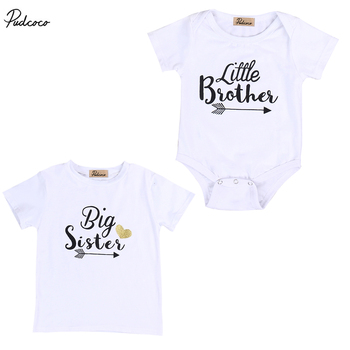 Cute Family Set NEW 2017 Newborn Baby Boys Short Sleeve Romper Girls Short Sleeve T-shirt Tops Outfits