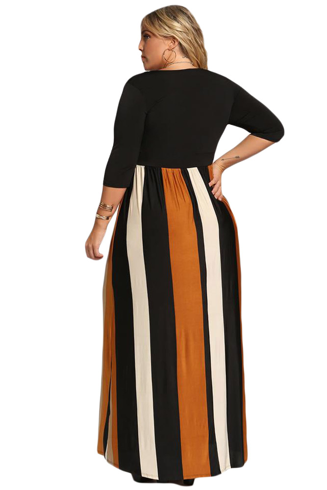 Mustard-Color-Blocked-Skirt-Plus-Size-Maxi-Dress-LC610502-7-2