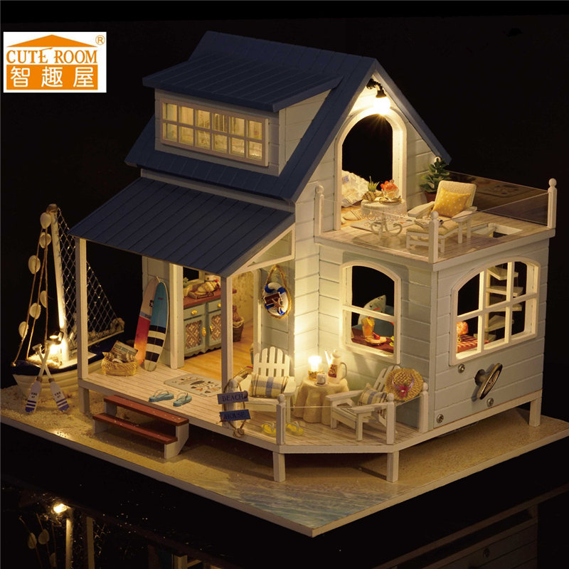 CuteRoom A-037-A Caribbean DIY Wooden Dollhouse Miniature Kit With Light Music Motor Best Gift For Children Girls cuteroom diy model dollhouse miniature voice activated led light box theatre gift for birthday valen