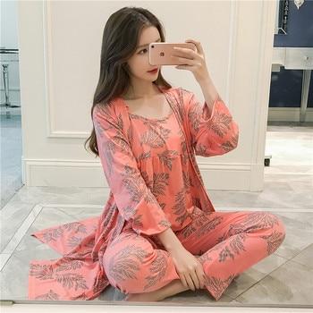 3 uds. Conjunto de Pijama Sexy de algodón para Mujer 2019, ropa de dormir de manga larga para primavera, ropa de dormir para Mujer, Pijama de tres piezas para Mujer