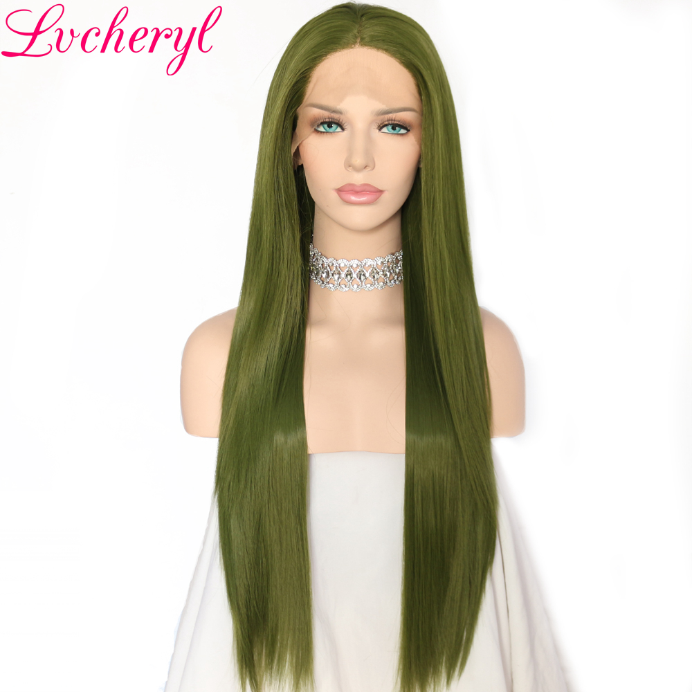 Lvcheryl High Temperature Heat Resistant Fiber Hair Long Straight Dark Green Synthetic Lace Front Wigs for