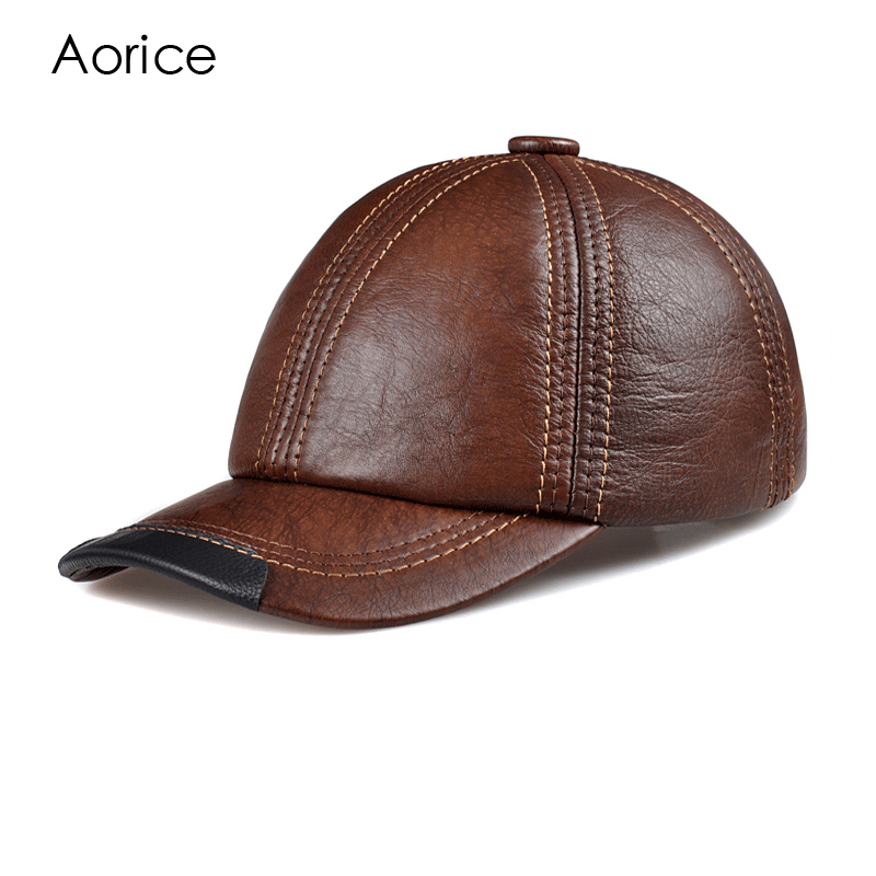 Aorice Genuine Leather Men Baseball Cap CBD High Quality Men's Real Leather Adult Solid Adjustable Hats Caps Women Unisex HL100 aetrue winter knitted hat beanie men scarf skullies beanies winter hats for women men caps gorras bonnet mask brand hats 2018