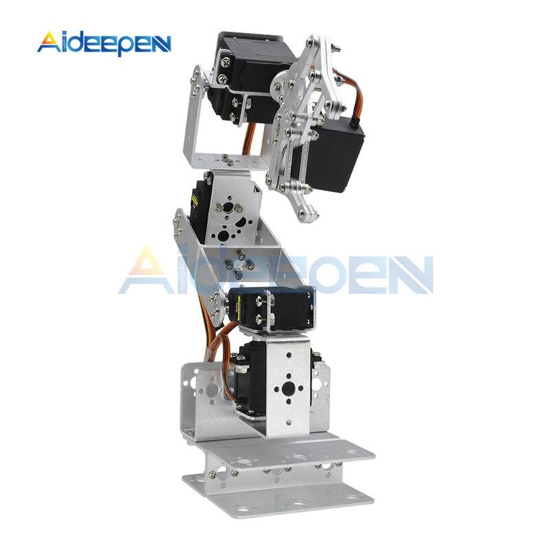 ROT3U 6DOF Aluminium Robot Arm Mechanical Robotic Clamp Claw for Arduino-Black