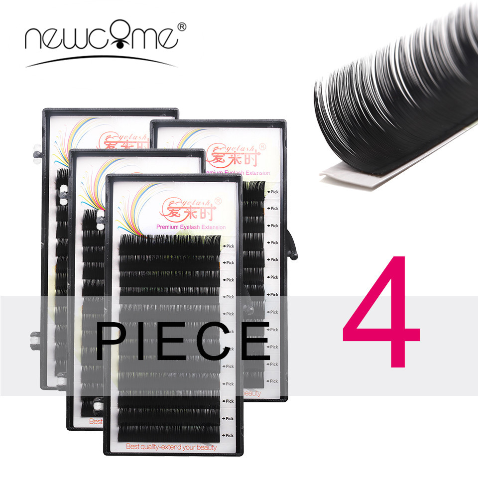 NEWCOME Luxury 4 Trays Extensii individuale pentru genelor 0.05 Grosime B C D Curl Coreea Silk Lashes False Extensii de geniu