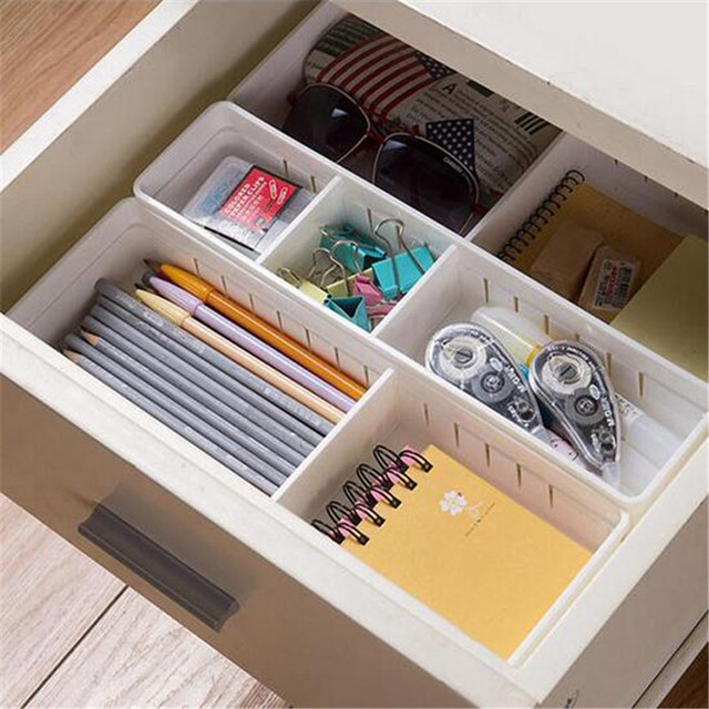 Adjustable Drawer Organizer Plastic Storage Box Makeup Cosmetic Organizers  Container Home Office Jewelry Storage Organizador