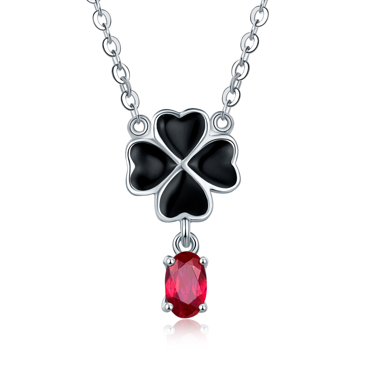 Hutang Four Leaf Clover Natural Ruby Pendant Necklace Solid 925 Sterling Silver Precious Gemstone Fine Jewelry for Women Gift trendy four leaf clover shape pendant necklace for women