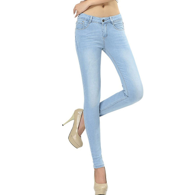 WQJGR Spring And Autumn Outfit Size Women Jeans Waist Slimming Feet Pencil Blue Women Jeans  Women Long Pants
