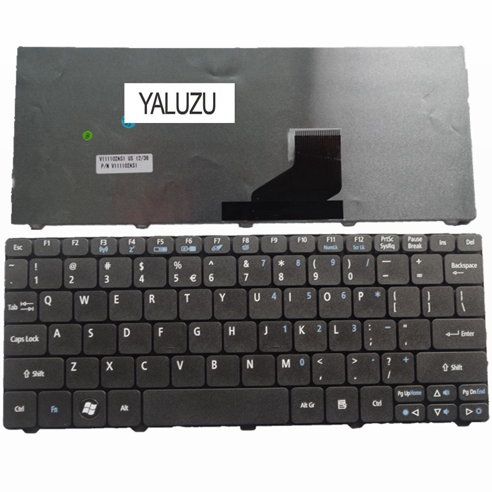 YALUZU US Black New English Laptop Keyboard For Acer D257 D260 D270 EM350 N55C ZH9 ZE6 ONE 522 533 532G AO532h 532H 521 BLACK