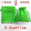 9.5x11 cm pequeño fieltro verde con cordón bolsa bolsa de joyas regalos 200 unids/lote