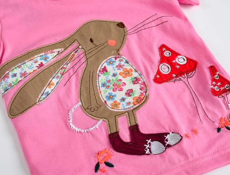 VIDMID Baby Girls t-shirt Short Sleeve Kids Clothes Brand Summer Tee T-Shirt Baby Girls Clothing bunny t shirt  Embroider 3