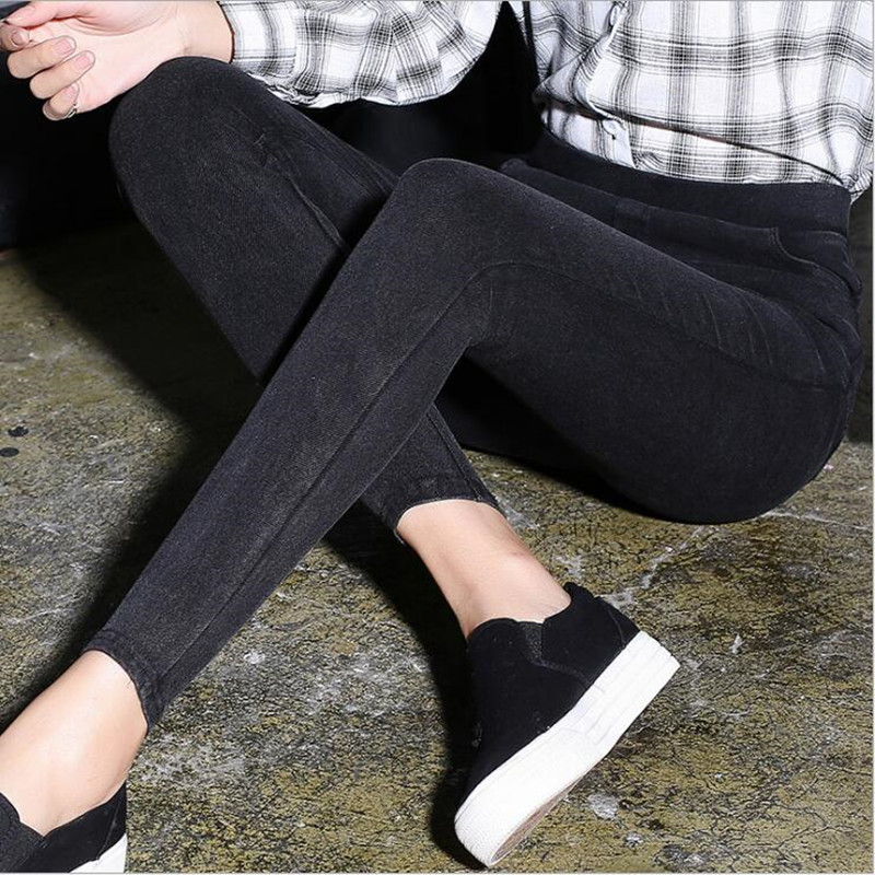 High quality Women Jeans Leggings Casual Fashion Skinny Slim Washed Jeggings Thin High Elastic Denim Legging Pencil Pants Women