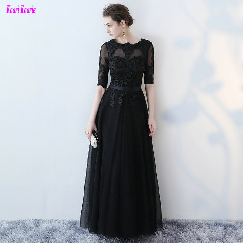 Junoesque Little Black   Evening     Dress   Long 2019 Sexy Women Formal   Dresses   Long Tulle Appliques   Evening   Party Gowns Custom Made