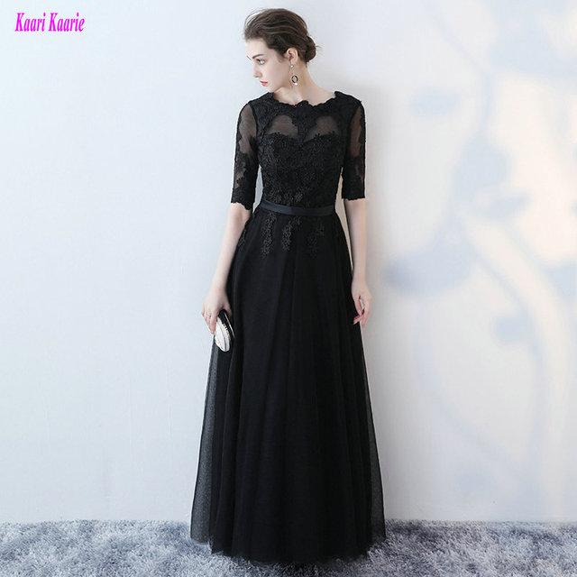 8180c5602 Junoesque poco negro vestido de noche largo 2019 Sexy mujer Formal vestidos  de tul con apliques