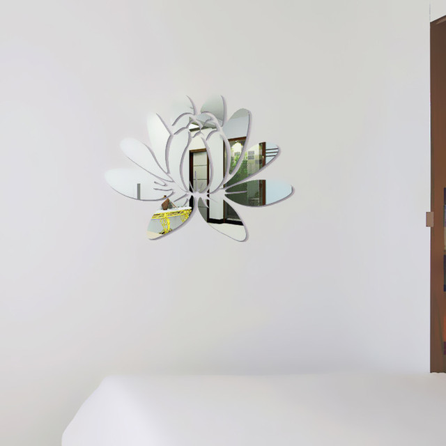 Creative Elegant Lotus 3D Decorative Acrylic Mirror Wall Stickers Flower Home Bedroom Decor Living Room Decoration Poster 3