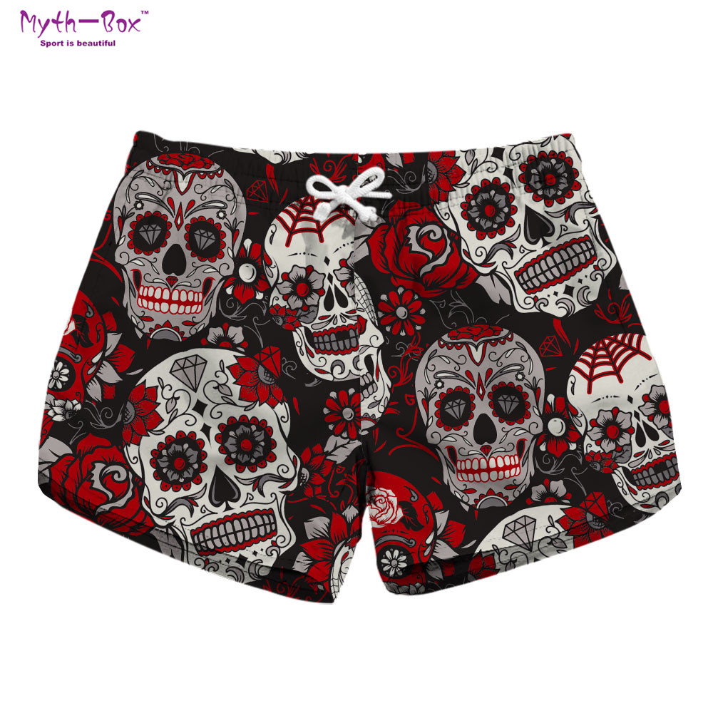 Summer Women Beach   Shorts   Water Sports Pants Skull Floral Print Brand Running   Shorts   Quick Dry Vacation Swim Surf   Board   Swimwear