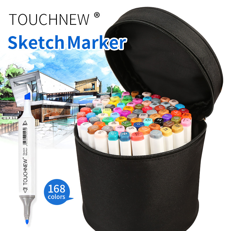 TOUCHNEW 60/80 Colors Sketch Markers With Round Canvas Bag Artist Dual Animation Manga Design Marker For School Drawing touchnew 80 colors artist dual headed marker set animation manga design school drawing sketch marker pen black body