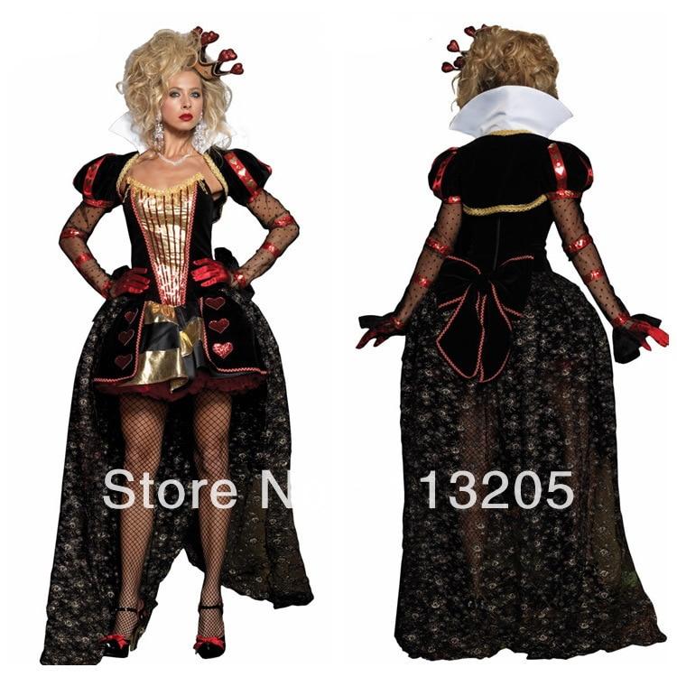 2014 women sexy deluxe wonderland queen of halloween costumes classic movie costume theater uniforms - Classic Womens Halloween Costumes