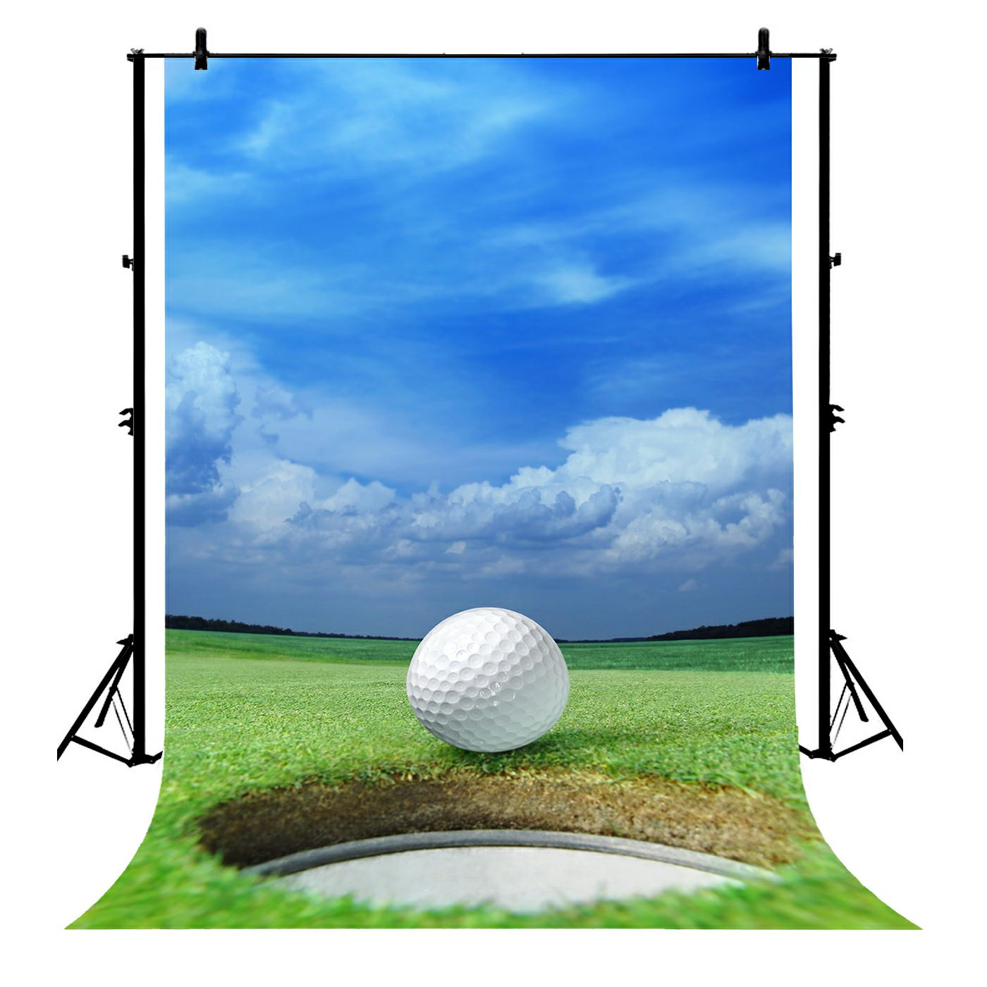 5x7ft Blue Sky Golf Course Club Party Wall Polyester Photo Background Portrait Backdrop