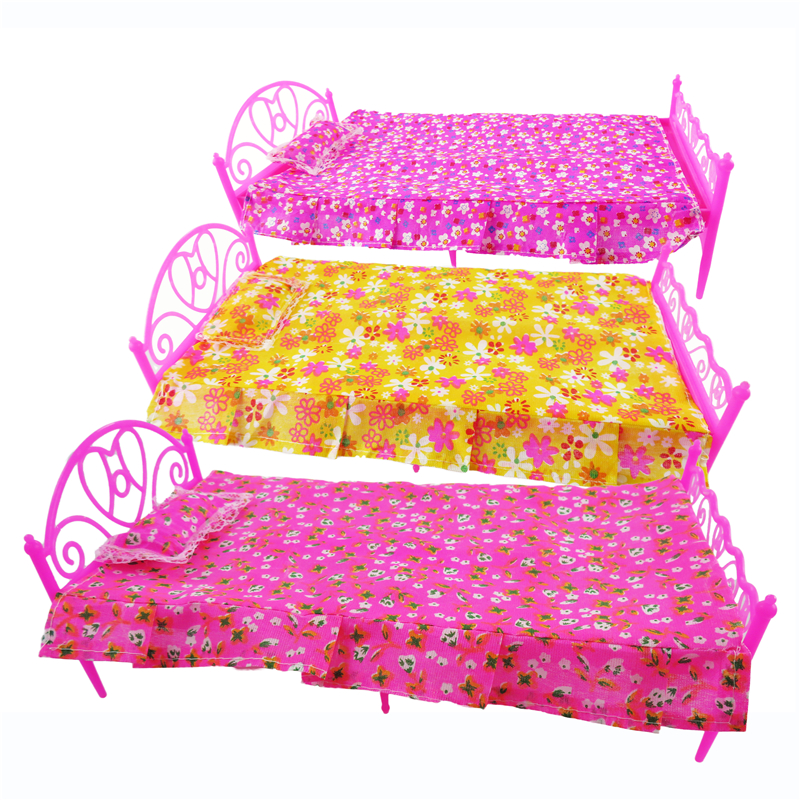 купить 1 Set 3 Items Barbie Doll's Bed Furniture ( Bed+Pillow+Bed Sheet) Doll Accessories For Barbie Doll Play House Girl Gift Kid Toys дешево