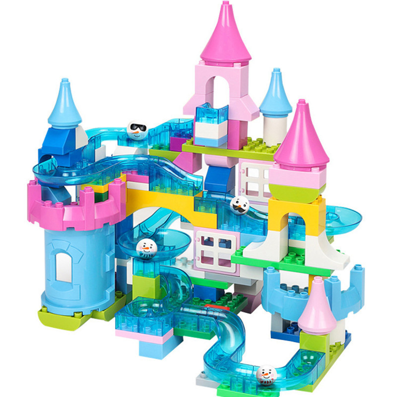 39 130PCS Marble Race Run Maze Ball Track LegoING Duplo Funnel Jungle And Snowice Crystal Slide Bricks Building Blocks Sets Toys