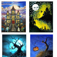 Halloween Diamant Stickerei DIY Diamant Kreuz Stich Kit Hexe, Mond, Herbst, Hand Diamant Mosaik Wohnkultur(China)
