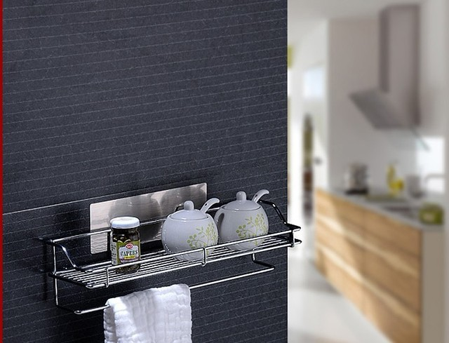 Free shipping adhesive shower caddy magic bath shelf kitchen storage holder rack bathroom kitchen supplies bathroom fitting