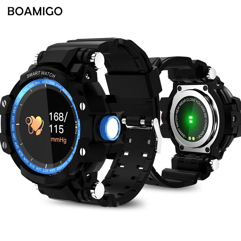 BOAMIGO Smart Watches Men Sports Watches Outdoor Wristwatch Call Message Reminder Pedometer Calories Bluetooth Waterproof Watch