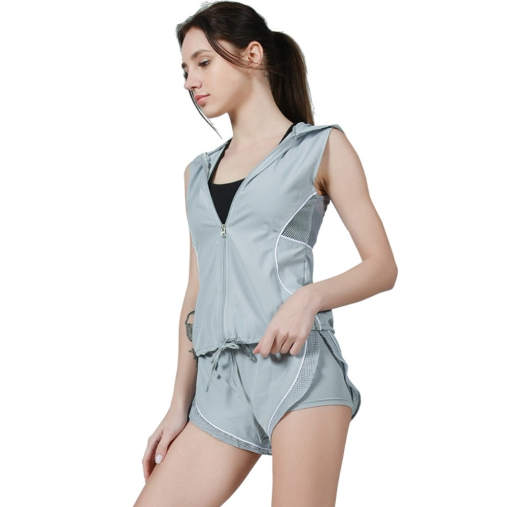 Smart Womens Sportswear Shorts Vest Workout Suit Mesh Hollow Out Yoga Fitness Gym Set Sport Top