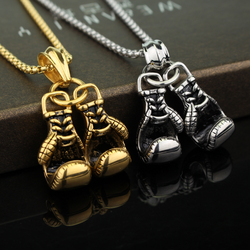 Golden Boxing Glove Pendant Charm Necklace Sport Jewelry Yellow Chain For Men