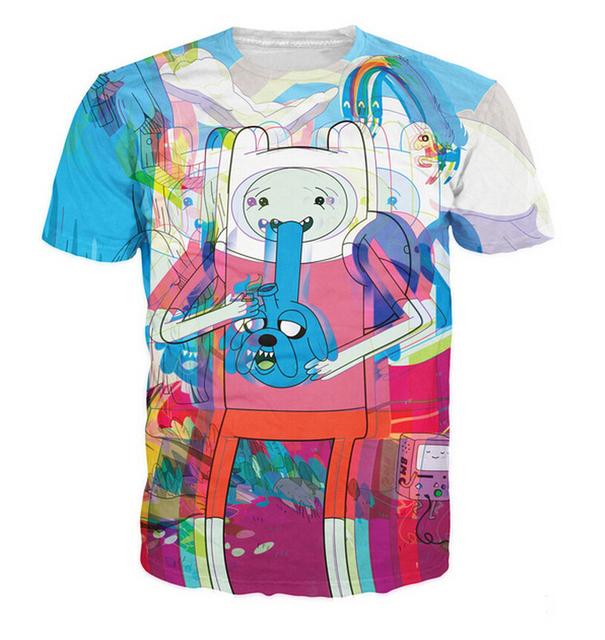 Tempo viagem de t-shirt Jake / Finn o tempo de aventura psicodélico t-shirt Unisex mulheres homens verão camiseta estilo moda tops plus size
