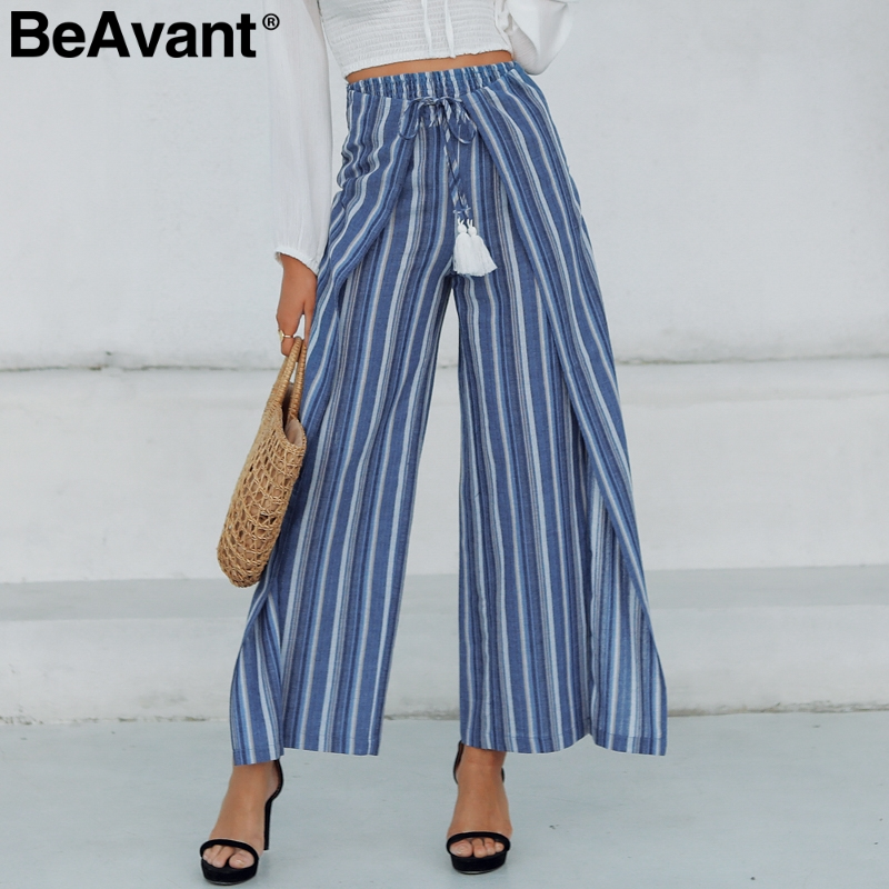 BeAvant Bohemian casual striped women   pants   capris High waist cotton linen   wide     leg     pants   Sashes tassel split trousers female