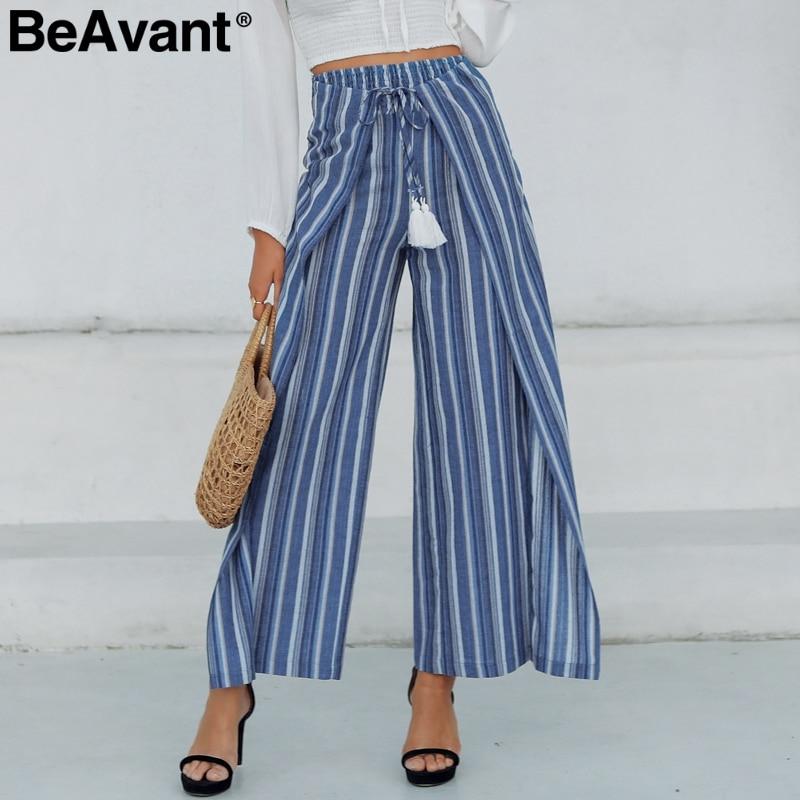 BeAvant Bohemian casual striped women   pants     capris   High waist cotton linen wide leg   pants   Sashes tassel split trousers female