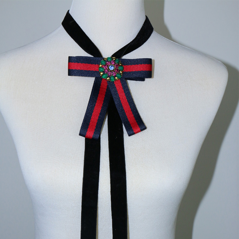 Vintage Big Bowknot Long Black Velvet Necklace For Women Chocker With Crystal Flower False Collar Collares