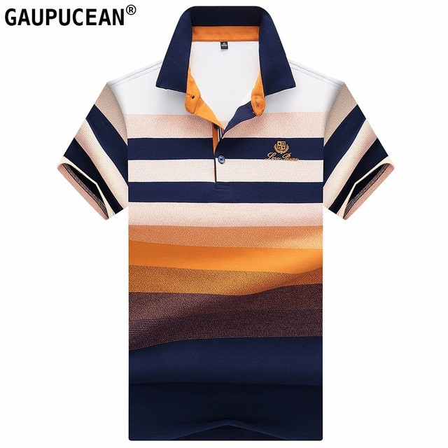 8ff0edb322f Man Short Sleeve Polo Shirt 95% Cotton 5% Spandex Soft Summer Male Striped  Yellow Red Blue Embroidery Quality Men Polo-shirt