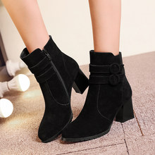 0535328b LAPOLAKA nueva venta al por mayor de gran tamaño 32-43 elegante zapatos de mujer  zapatos botas rebaño hebillas tacones altos muj.